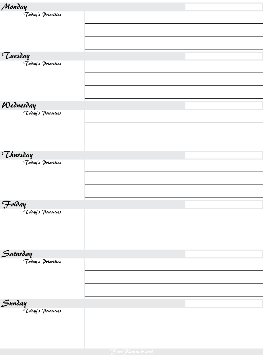 Free Printable Weekly Planners - Printable Weekly Planner Sheets
